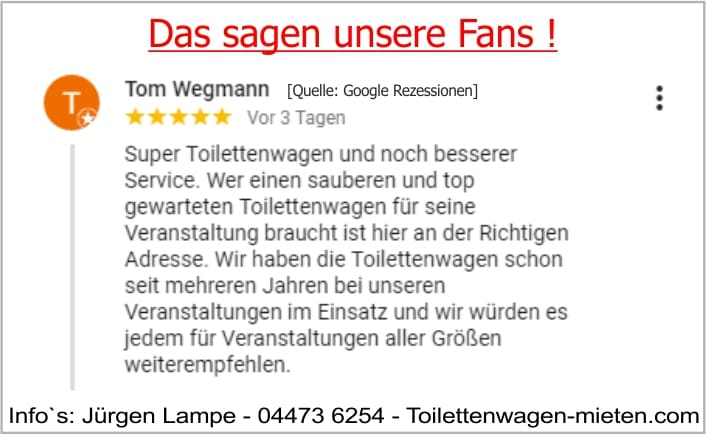 Bewertung Toilettenwagen von Lampe